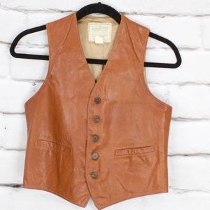 Vintage LL Bean Leather Vest Motorcycle Hunting M